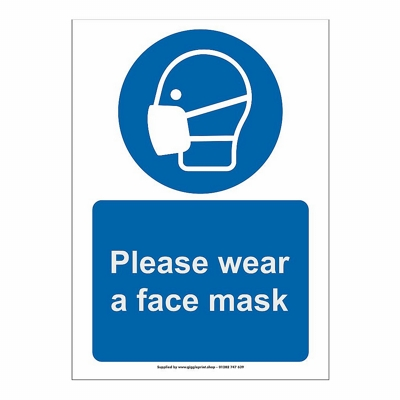 Face Masks Printed Health And Safety Sign